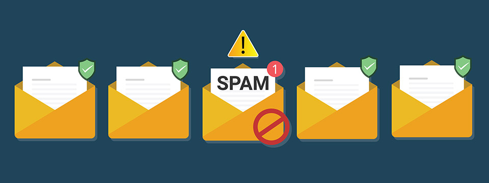 Envelopes with documents. Spam slert. Email fraud. Phishing attempt.