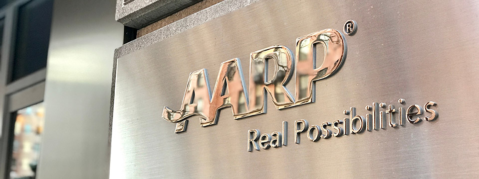 AARP sign at headquarters building in Washington, DC.