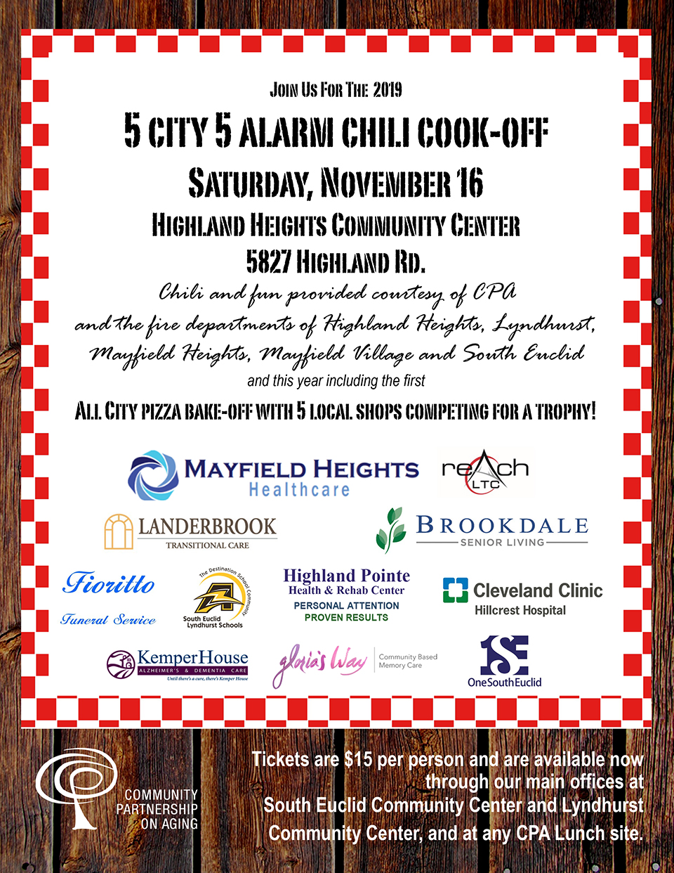 2019 5 City 5 Alarm Chili Cook Off Flier