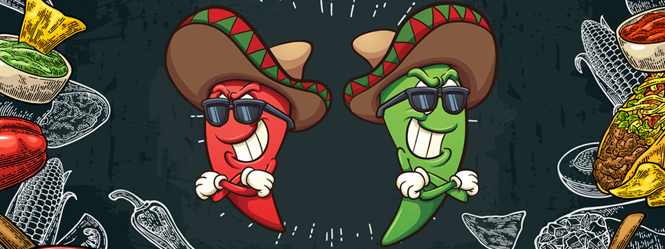 A red pepper and a green pepper in hats and sunglasses stand with their back to each other ready to duel.
