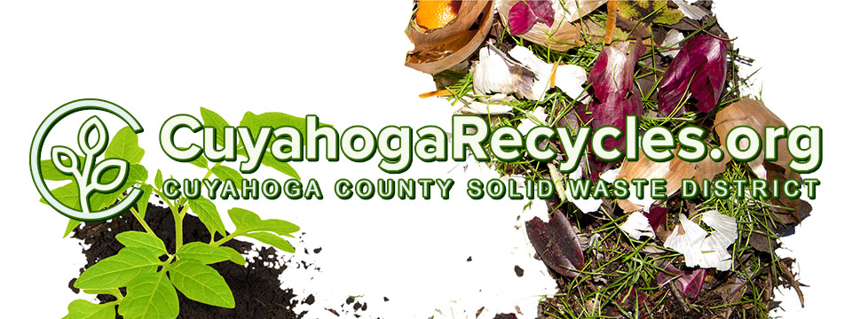 The Cuyahoga County Solid Waste District logo sits atop an illustration of composting.