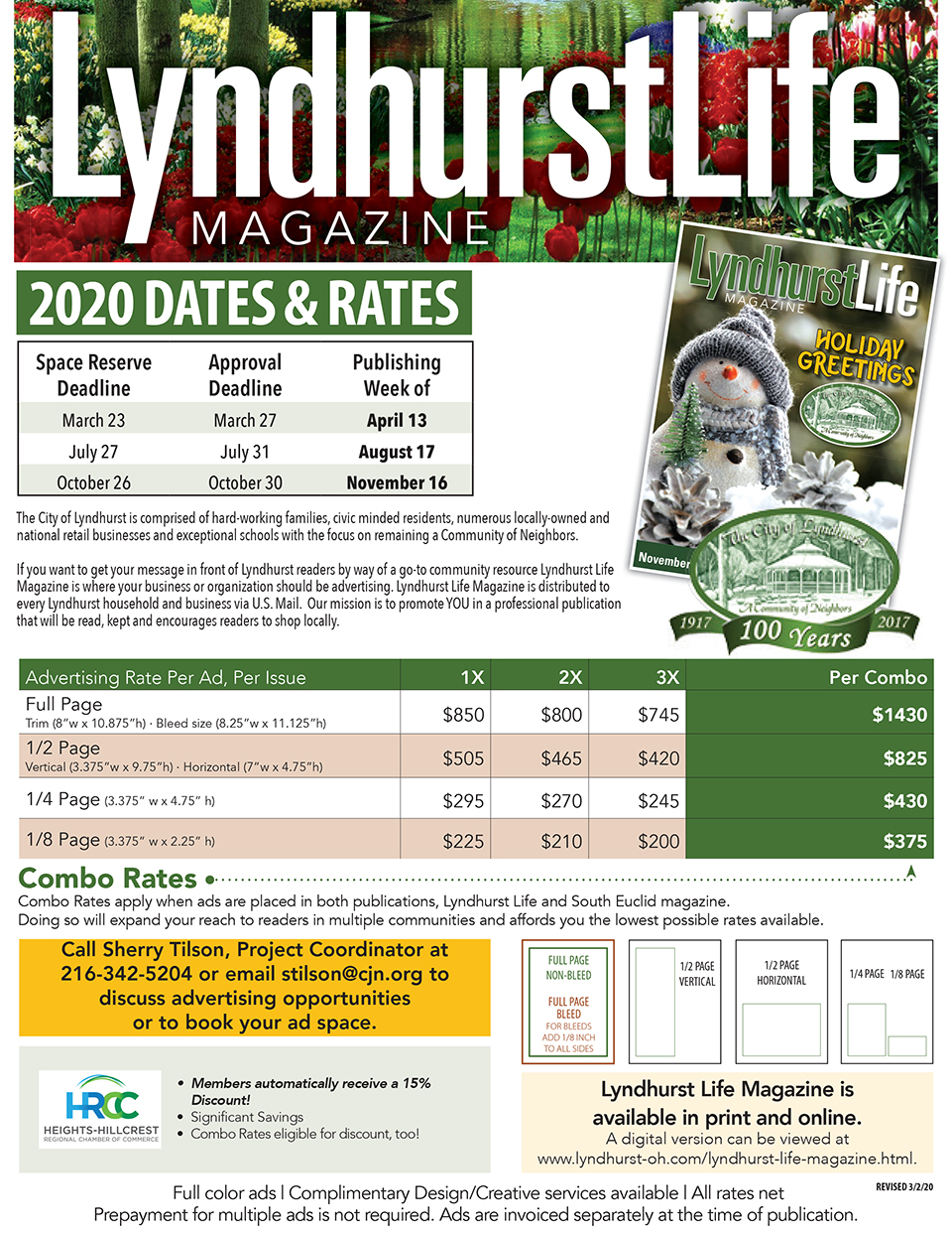 Lyndhurst Life Magazine 2020 Rate Card.