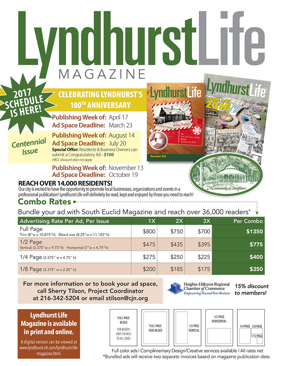 Launch flier in PDF format. Lyndhurst Life Magazine 2017 Ad Schedule - July 20th 2017 Deadline - City of Lyndhurst, Ohio.