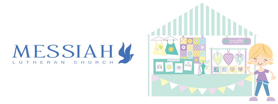 The Messiah Lutheran Church logo sits to the left of an illustration of a girl waving from a craft booth.