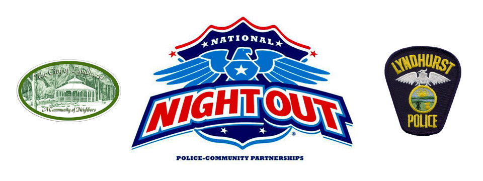 City of Lyndhurst, Ohio logo, National Night Out logo and Lyndhurst Police Department logo..