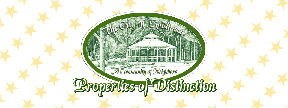 The City of Lyndhurst, Ohio Properties of Distinction logo sits atop row after row of gold stars.