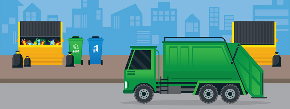 Illustration of two large yellow dumpsters, various recycycling receptacles, and a large green garbage truck.