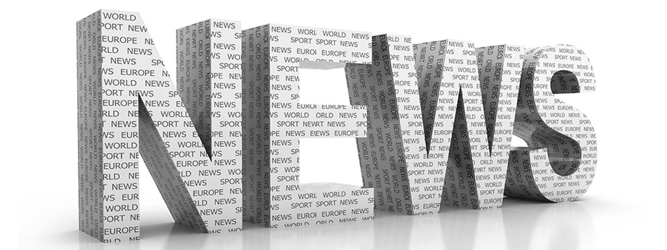 The letters NEWS stand alone reflecting on a white background with the letters themselves covered in newspaper.