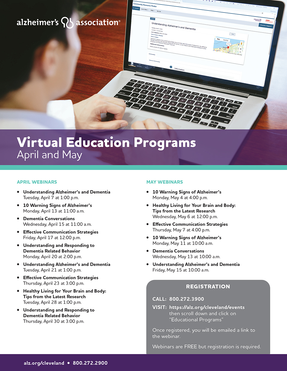 Virtual Education Programs Listing for April and May 2020.