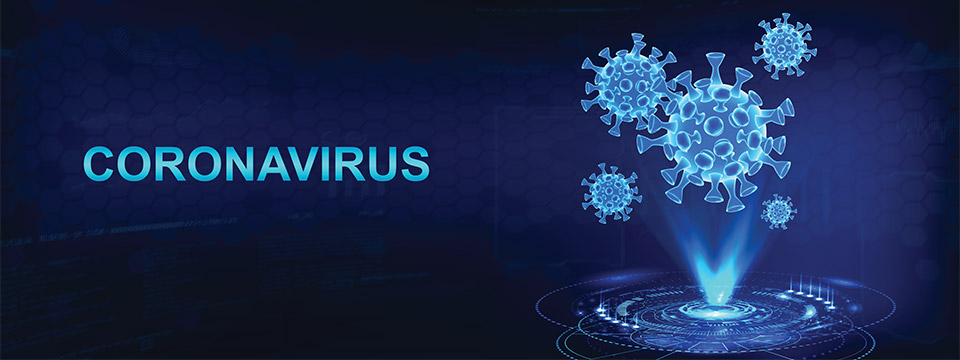 A three-dimensional holographic illustration of the Coronavirus.