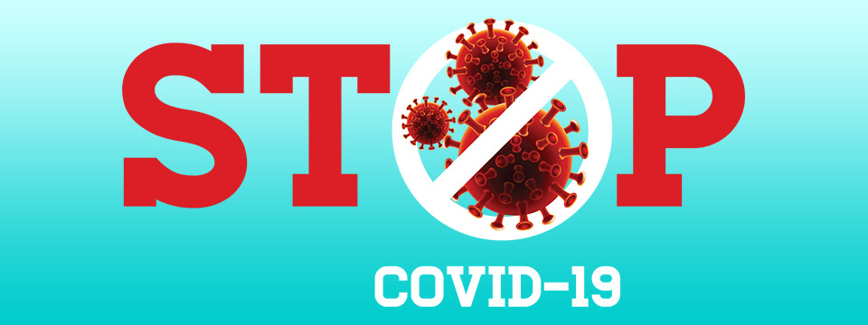 An illustration of the coronavirus sits within the letters of the words STOP COVID-19.