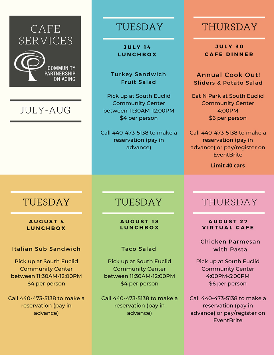 CPA Cafe Services Menu and Schedule.