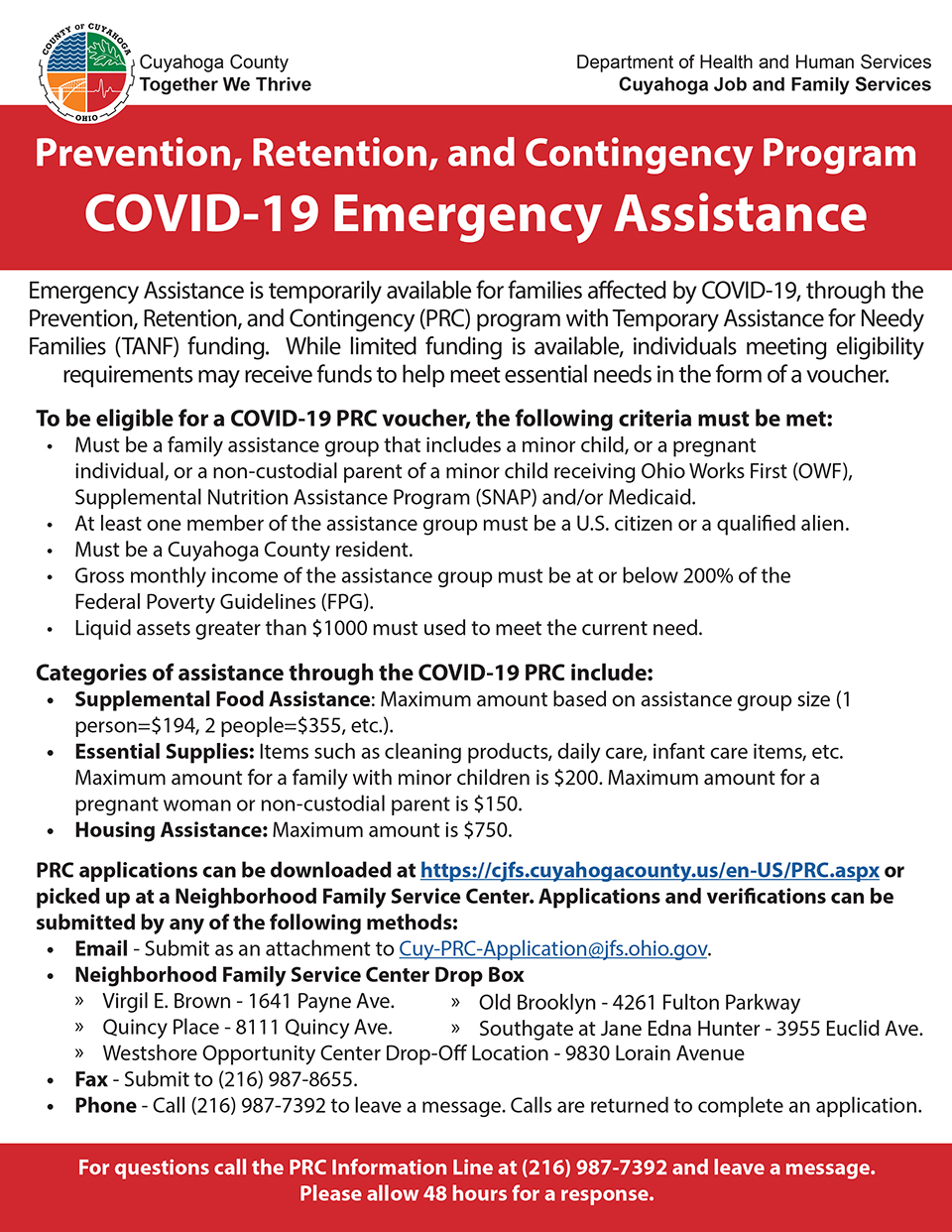 Cuyahoga County Prevention, Retention, and Contingency (PRC) Program COVID-19 Emergency Assistance flier.