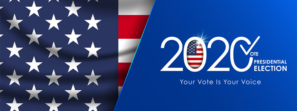 The flag of the USA sits to the left of the 2020 Presidential Election logo. Your vote is your voice.