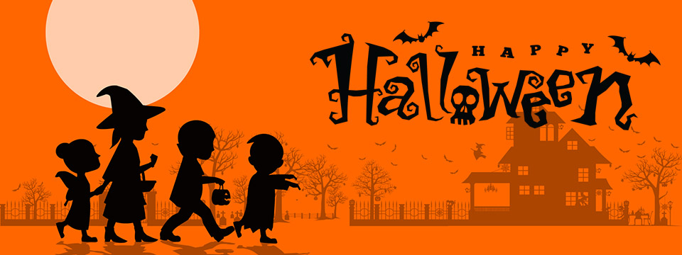 A silhouette of a mother and her three children dressed up for Halloween and out trick-or-treating.