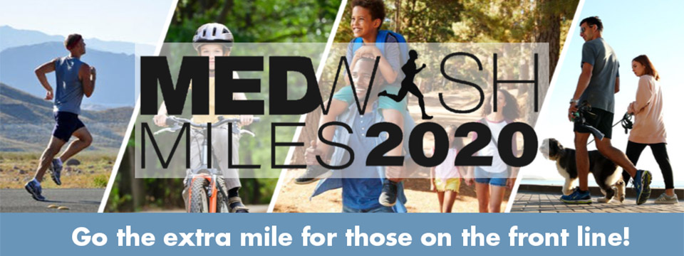 MedWish Miles 2020 virtual race banner. Go the extra mile for those on the front line!