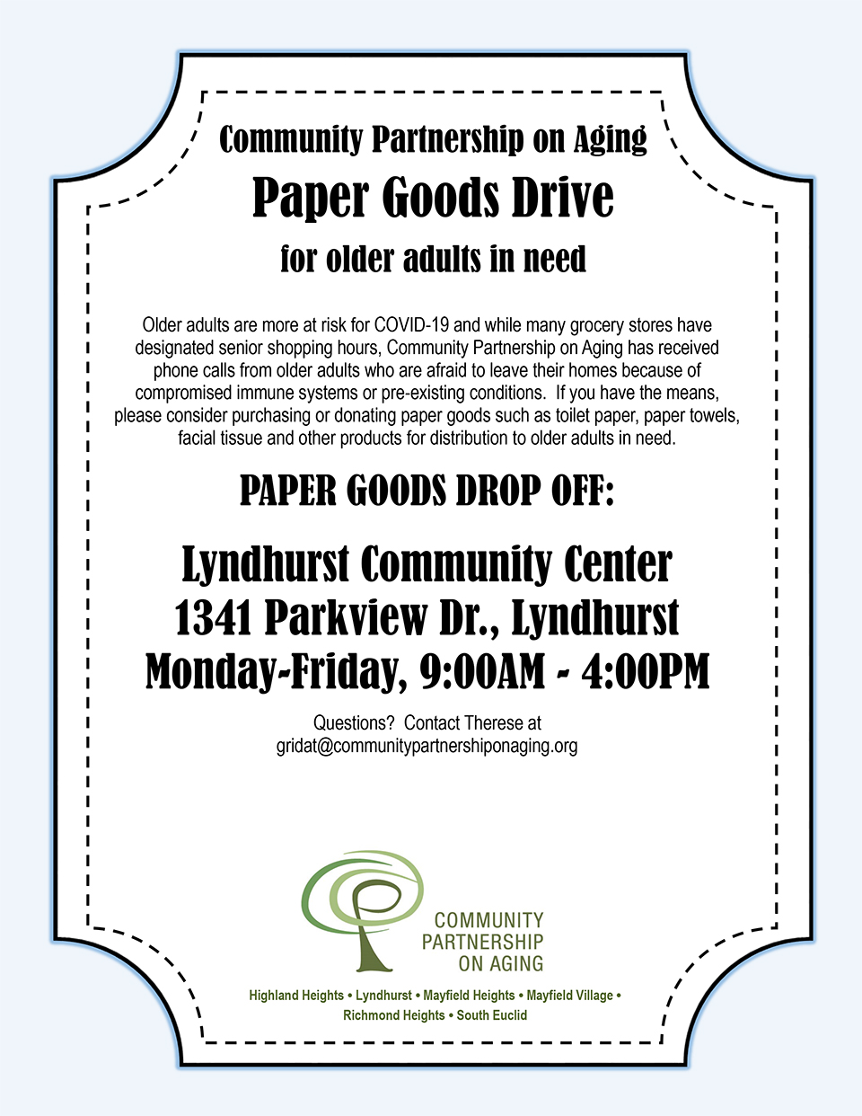 Community Partnership on Aging Paper Goods Drive flier.