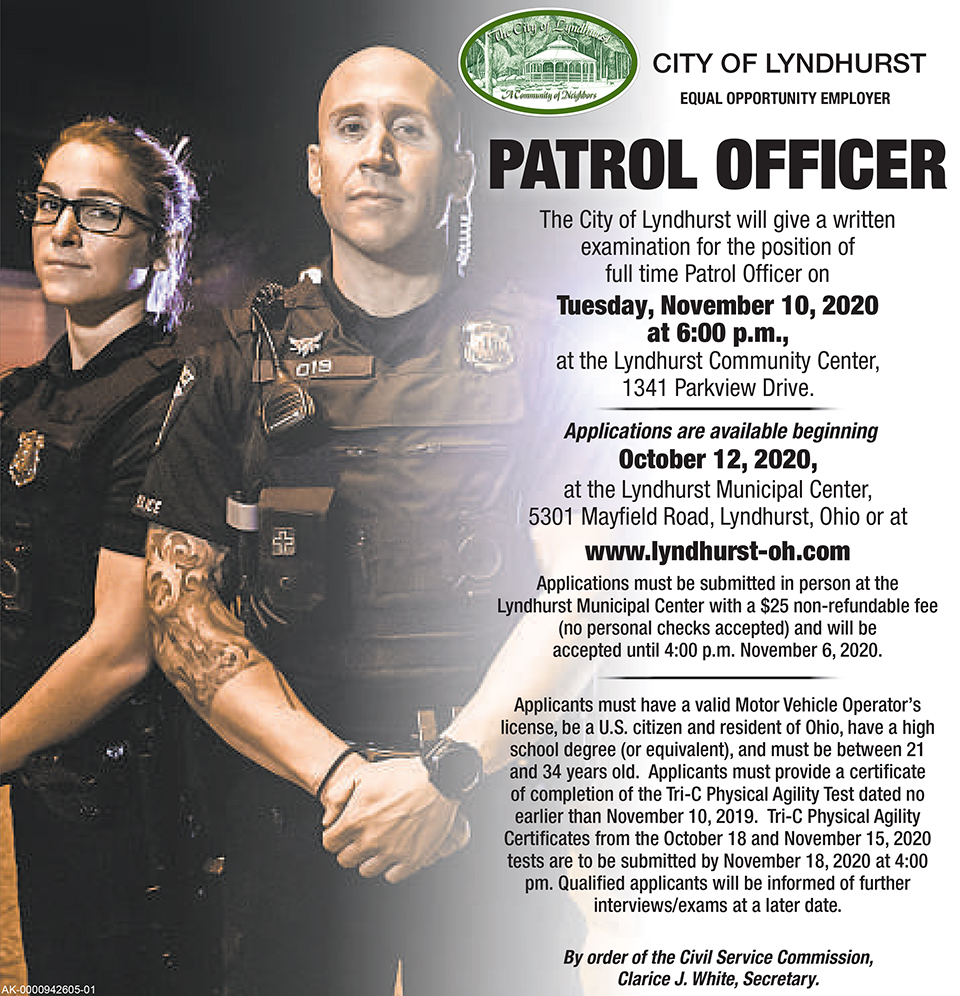 City of Lyndhurst, Ohio Full Time Patrol Officer Exam flier.