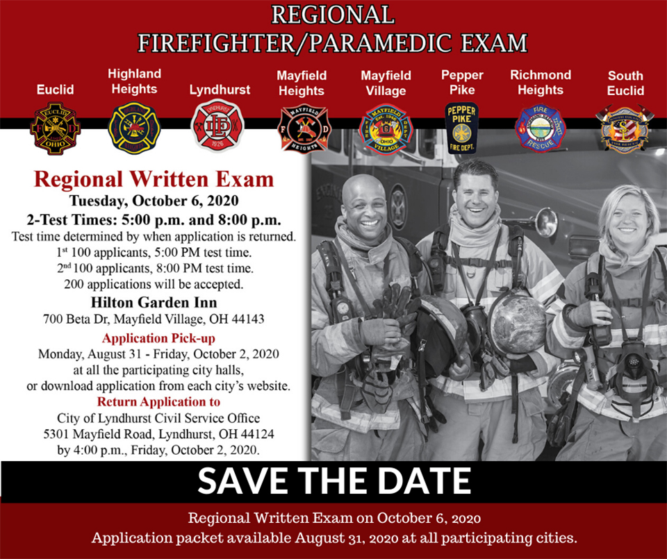 2020 Regional Firefighter / Paramedic Exam information packet cover.