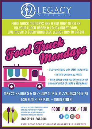 Food Truck Mondays Returns to Legacy Village This Summer.