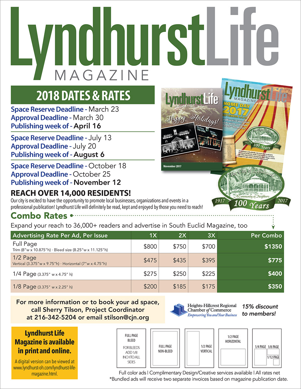 Click to launch as PDF. Lyndhurst Life Magazine 2018 Ad Rates - City of Lyndhurst, Ohio