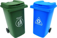 Trash can and recycling can side by side.