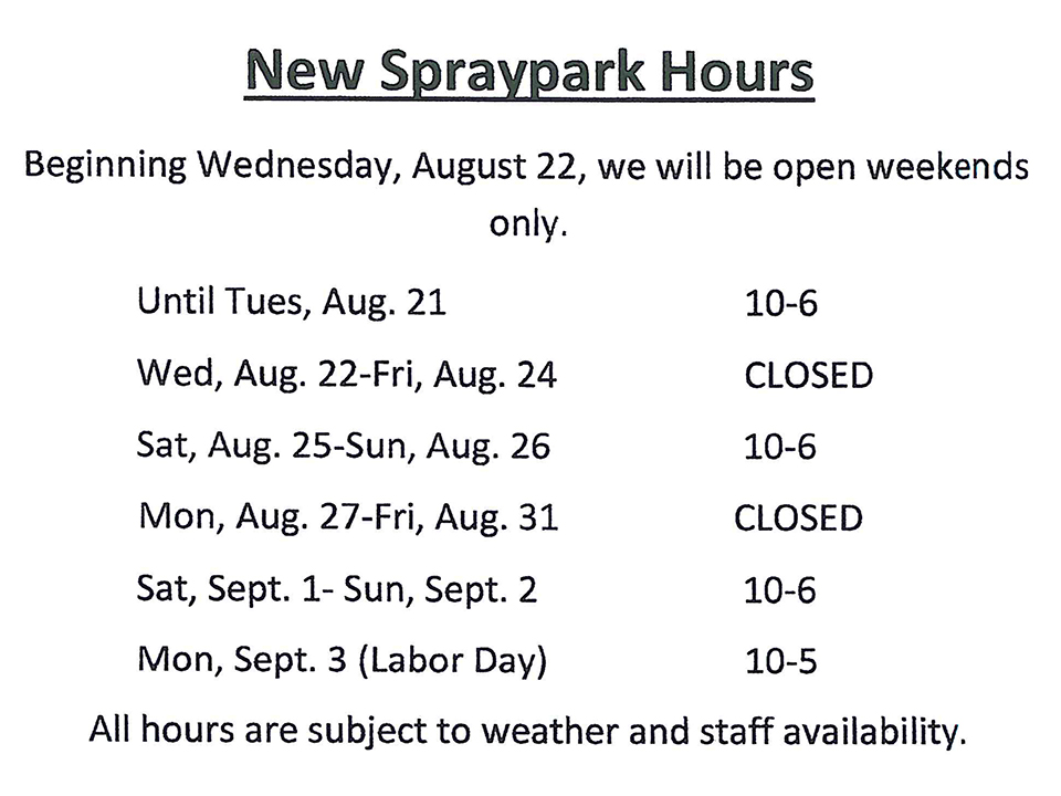Adjusted Pool and Spraypark Hours. Regular hours for the Lyndhurst Pool and Brainard Spraypark will continue until Wednesday, August 22nd 2018. Please see the schedules for each facility with this message and posted on the City's website at www.lyndhurst-oh.com.