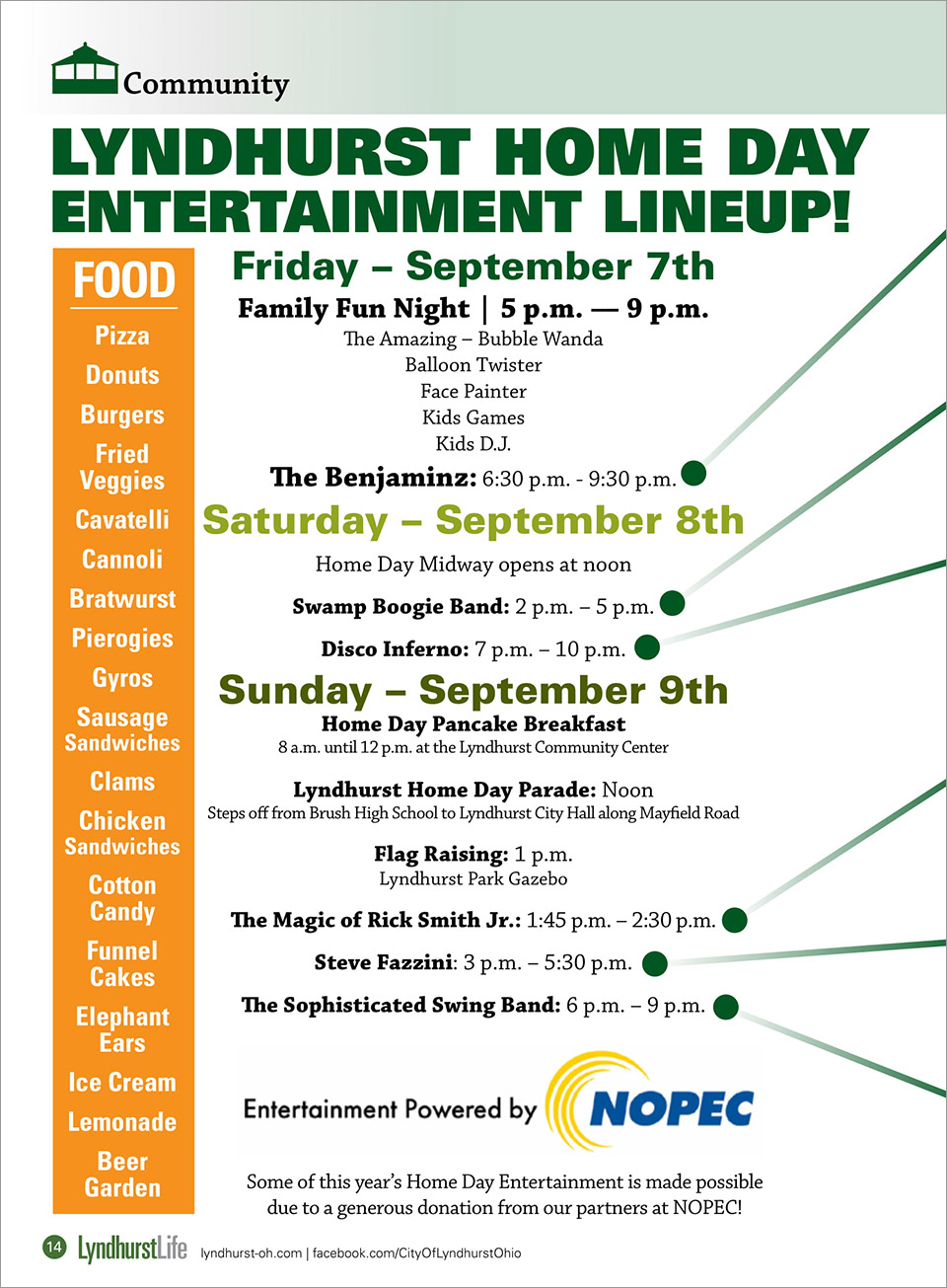 2018 Lyndhurst Home Day Celebration - Entertainment Lineup! - September 7th, 8th, and 9th 2018 - City of Lyndhurst, Ohio