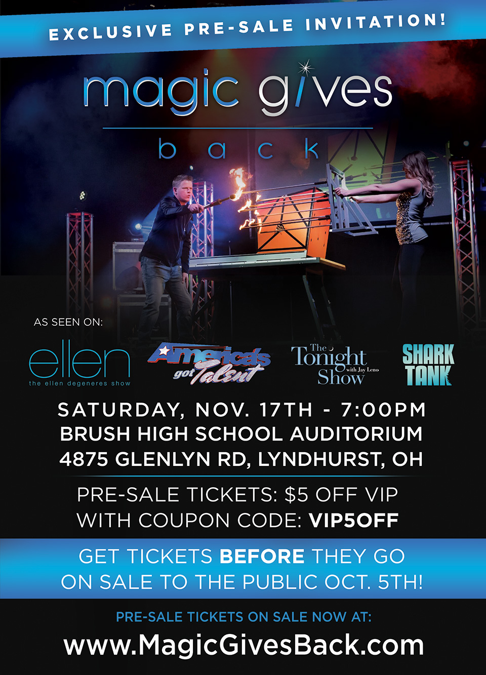 Flier: Magic Gives Back in the Brush High School Auditorium - Exclusive Ticket Pre-Sale Invitation - November 17th 2018 - City of Lyndhurst, Ohio