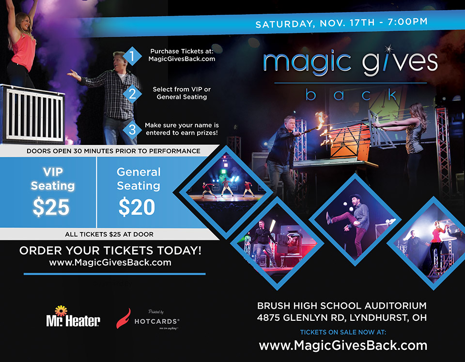Flier: Magic Gives Back - In the Brush High School Auditorium - Tickets On Sale Now - November 17th 2018 - City of Lyndhurst, Ohio