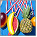 An athlete wears around his neck five different red, white and blue lanyards. In place of medals at the end of each lanyard there hangs instead a heart healthy fruit.