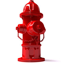 Photo of a bright red fire hydrant.